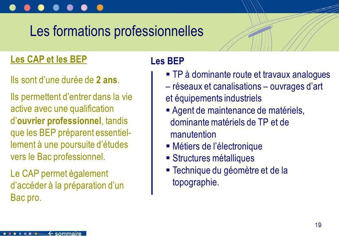 sommaire 19 Les formations professionnelles Les CAP et les BEP Ils sont dune durée de 2 ans. Ils permettent dentrer dans la vie active avec une qualif