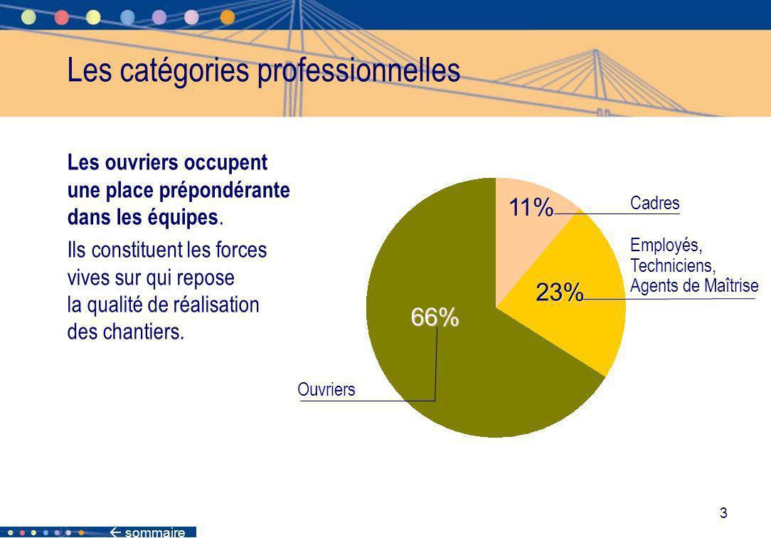 3 Les catégories professionnelles Employés, Techniciens, Agents de Maîtrise 23% 66% Ouvriers Les ouvriers occupent une place prépondérante dans les éq