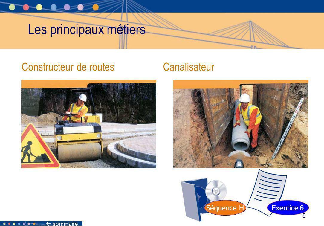 sommaire 5 Constructeur de routes Canalisateur Les principaux métiers Séquence H Exercice 6