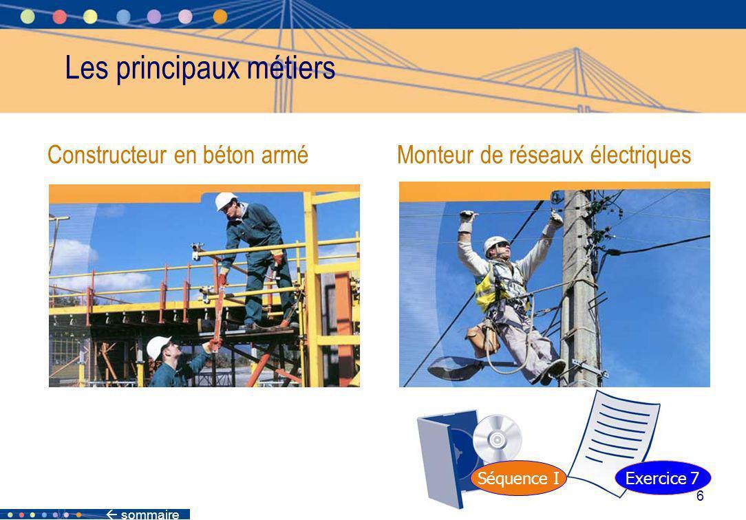sommaire 6 Constructeur en béton armé Monteur de réseaux électriques Les principaux métiers Séquence I Exercice 7