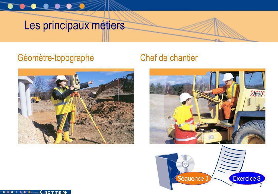 sommaire 7 Géomètre-topographe Chef de chantier Les principaux métiers Séquence J Exercice 8