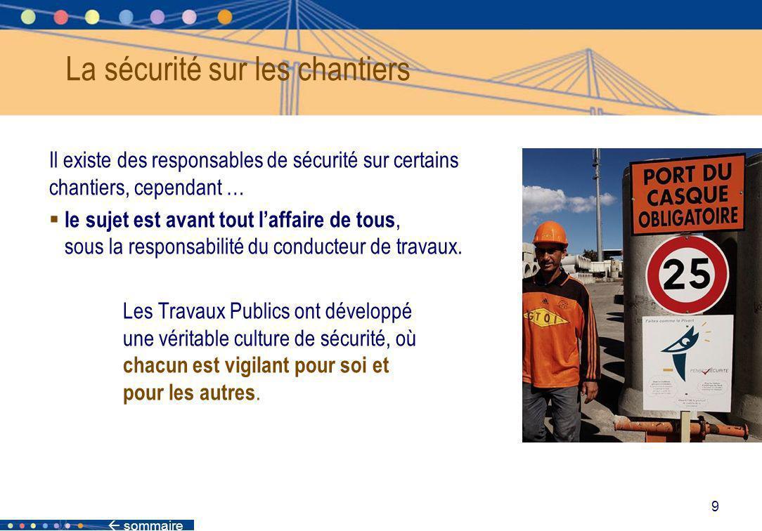 sommaire 9 La sécurité sur les chantiers Il existe des responsables de sécurité sur certains chantiers, cependant … le sujet est avant tout laffaire d