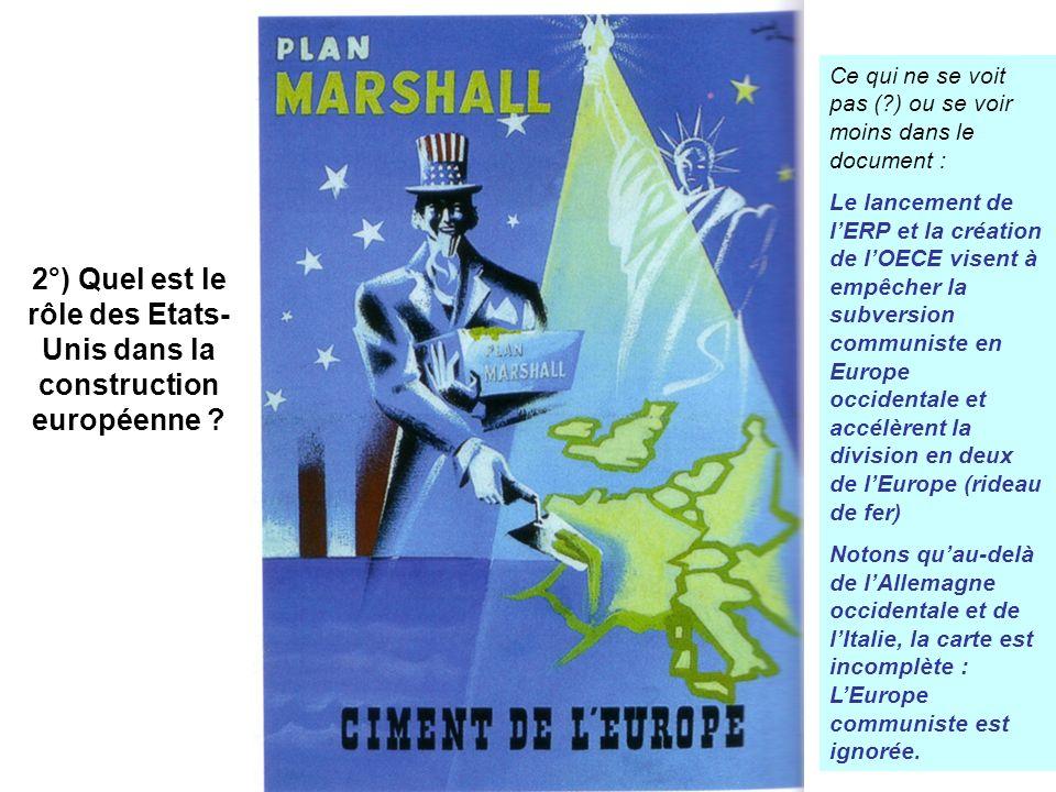 2°) Quel est le rôle des Etats- Unis dans la construction européenne ? Ce qui ne se voit pas (?) ou se voir moins dans le document : Le lancement de l