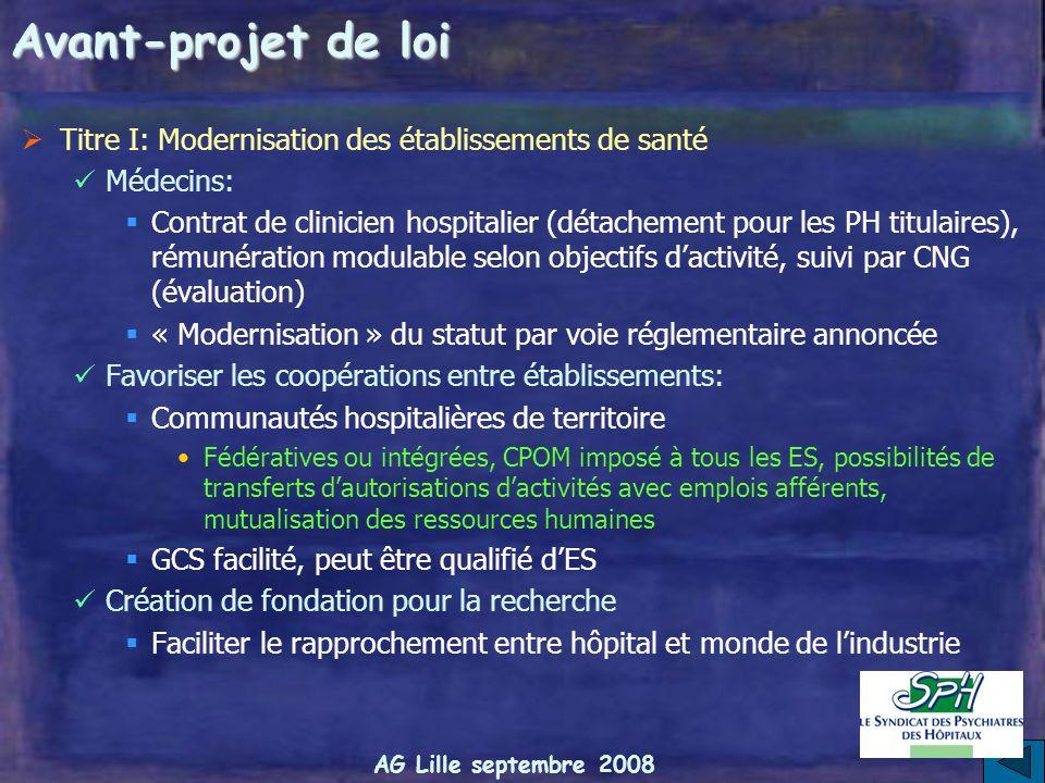 AG Lille septembre 2008 Avant-projet de loi Titre I: Modernisation des établissements de santé Nouvelle définition des missions de service public Poss