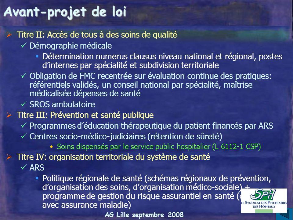 AG Lille septembre 2008 Avant-projet de loi Titre I: Modernisation des établissements de santé Médecins: Contrat de clinicien hospitalier (détachement