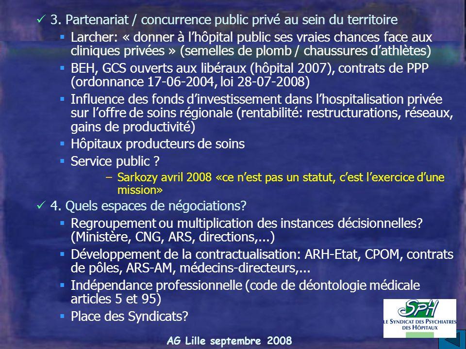 AG Lille septembre 2008 Régionalisation de la politique de santé Les outils Carte sanitaire, SROS (1991, renforcé par hôpital 2007) et CROSS Dotation
