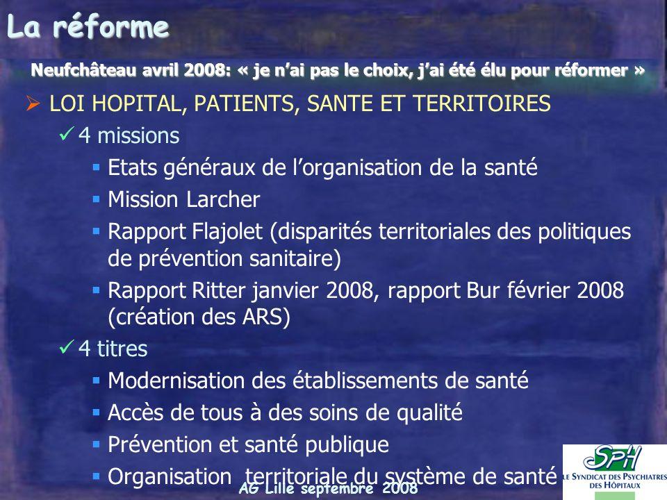 AG Lille septembre 2008 3. Partenariat / concurrence public privé au sein du territoire Larcher: « donner à lhôpital public ses vraies chances face au