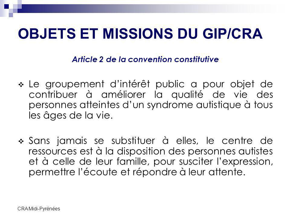 CRA Midi-Pyrénées OBJETS ET MISSIONS DU GIP/CRA Article 2 de la convention constitutive Le groupement dintérêt public a pour objet de contribuer à amé