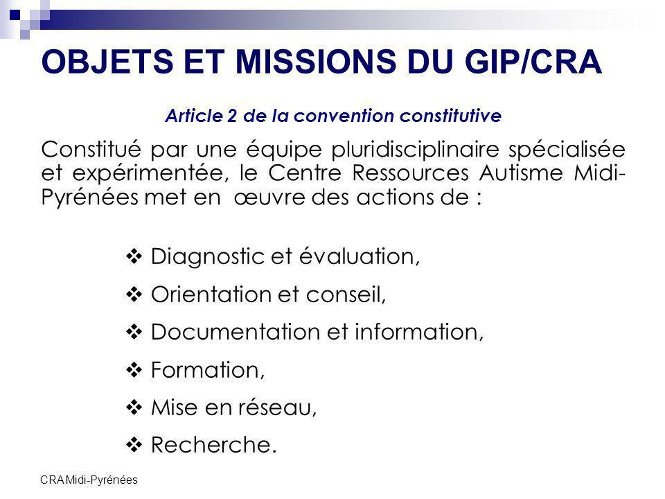 CRA Midi-Pyrénées OBJETS ET MISSIONS DU GIP/CRA Article 2 de la convention constitutive Constitué par une équipe pluridisciplinaire spécialisée et exp