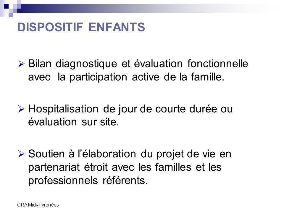 CRA Midi-Pyrénées DISPOSITIF ENFANTS Bilan diagnostique et évaluation fonctionnelle avec la participation active de la famille. Hospitalisation de jou