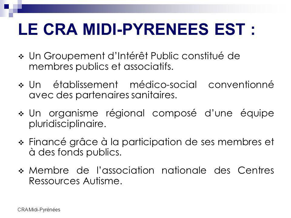 CRA Midi-Pyrénées LE CRA MIDI-PYRENEES EST : Un Groupement dIntérêt Public constitué de membres publics et associatifs. Un établissement médico-social