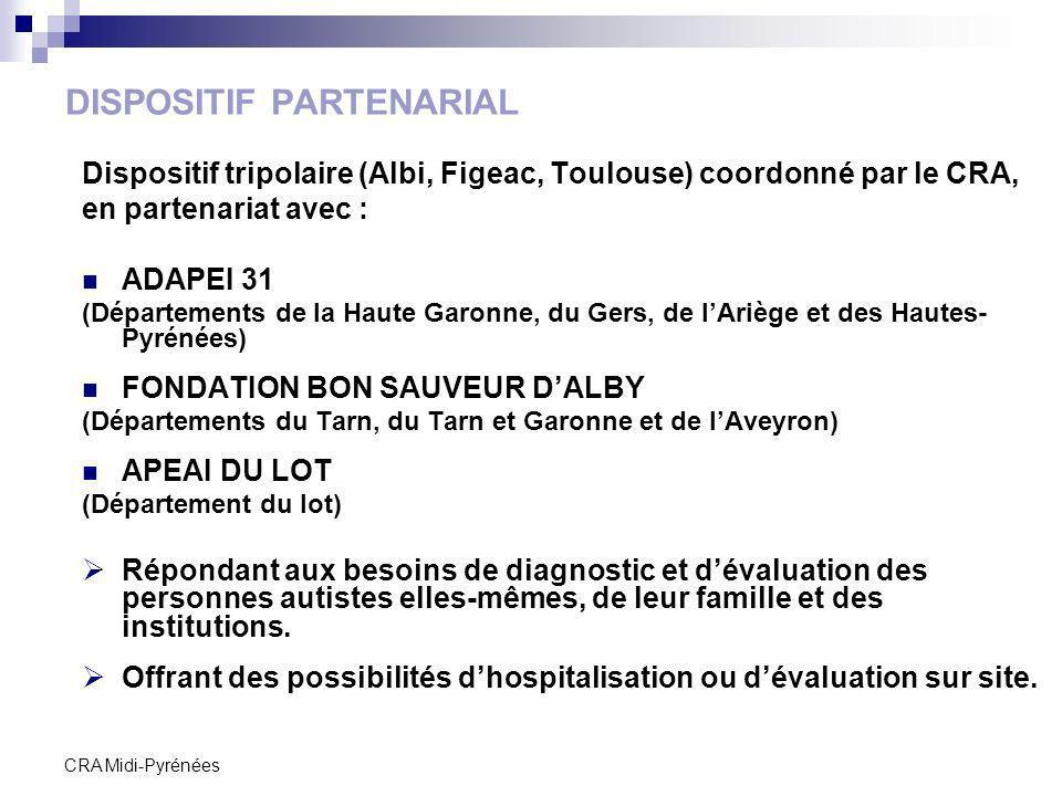 CRA Midi-Pyrénées DISPOSITIF PARTENARIAL Dispositif tripolaire (Albi, Figeac, Toulouse) coordonné par le CRA, en partenariat avec : ADAPEI 31 (Départe