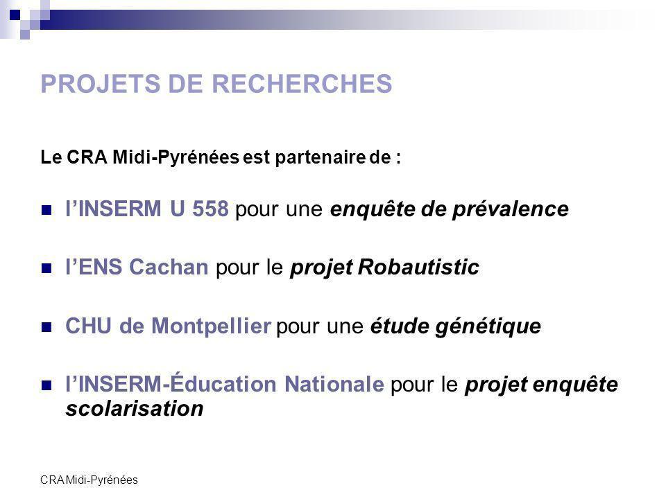 CRA Midi-Pyrénées PROJETS DE RECHERCHES Le CRA Midi-Pyrénées est partenaire de : lINSERM U 558 pour une enquête de prévalence lENS Cachan pour le proj