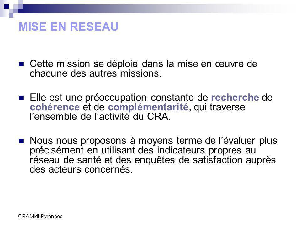 CRA Midi-Pyrénées MISE EN RESEAU Cette mission se déploie dans la mise en œuvre de chacune des autres missions. Elle est une préoccupation constante d