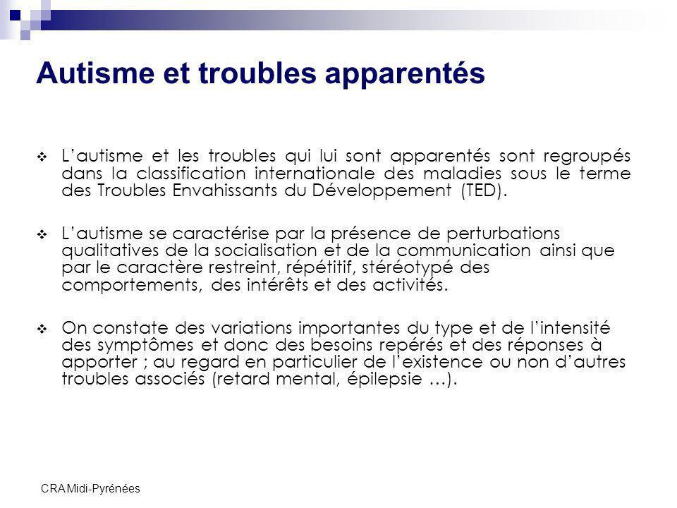CRA Midi-Pyrénées Autisme et troubles apparentés Lautisme et les troubles qui lui sont apparentés sont regroupés dans la classification internationale