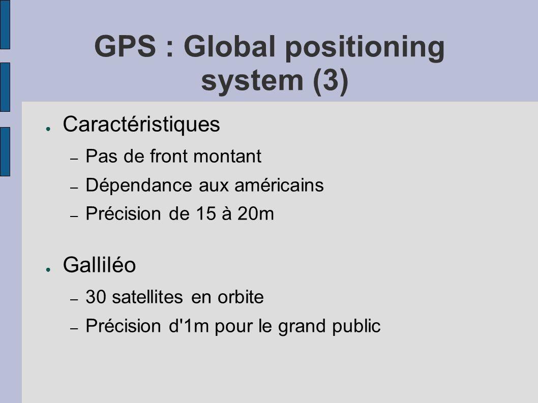 GPS : Global positioning system (3) Caractéristiques – Pas de front montant – Dépendance aux américains – Précision de 15 à 20m Galliléo – 30 satellit