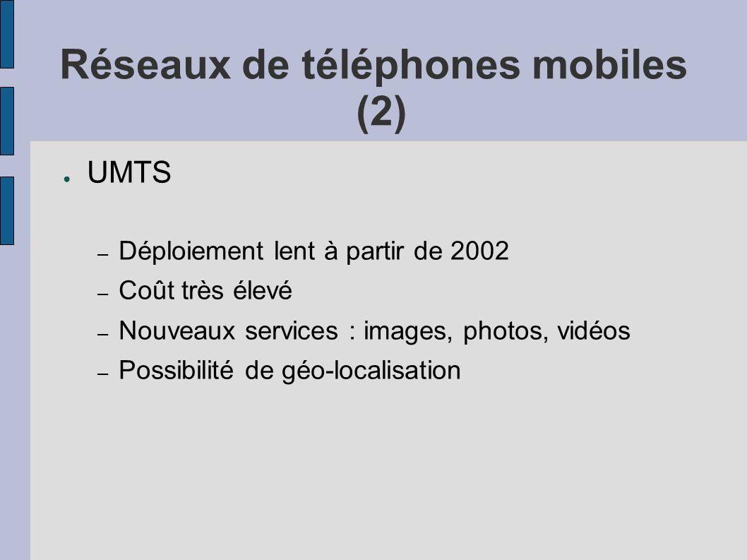Réseaux de téléphones mobiles (2) UMTS – Déploiement lent à partir de 2002 – Coût très élevé – Nouveaux services : images, photos, vidéos – Possibilit