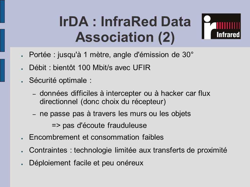 IrDA : InfraRed Data Association (2) Portée : jusqu'à 1 mètre, angle d'émission de 30° Débit : bientôt 100 Mbit/s avec UFIR Sécurité optimale : – donn
