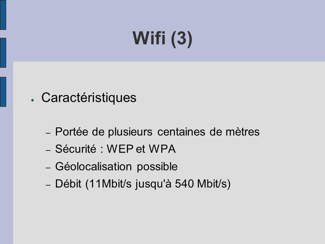 Wifi (3) Caractéristiques – Portée de plusieurs centaines de mètres – Sécurité : WEP et WPA – Géolocalisation possible – Débit (11Mbit/s jusqu'à 540 M