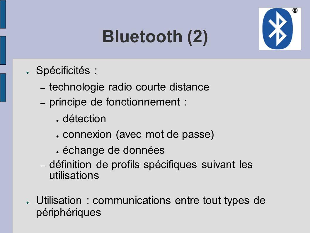 Bluetooth (2) Spécificités : – technologie radio courte distance – principe de fonctionnement : détection connexion (avec mot de passe) échange de don