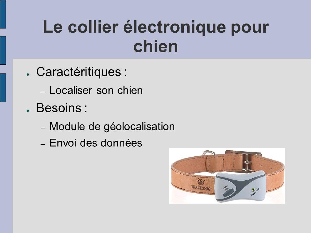 Le collier électronique pour chien Caractéritiques : – Localiser son chien Besoins : – Module de géolocalisation – Envoi des données