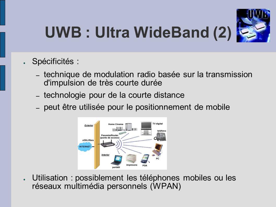 UWB : Ultra WideBand (2) Spécificités : – technique de modulation radio basée sur la transmission d'impulsion de très courte durée – technologie pour