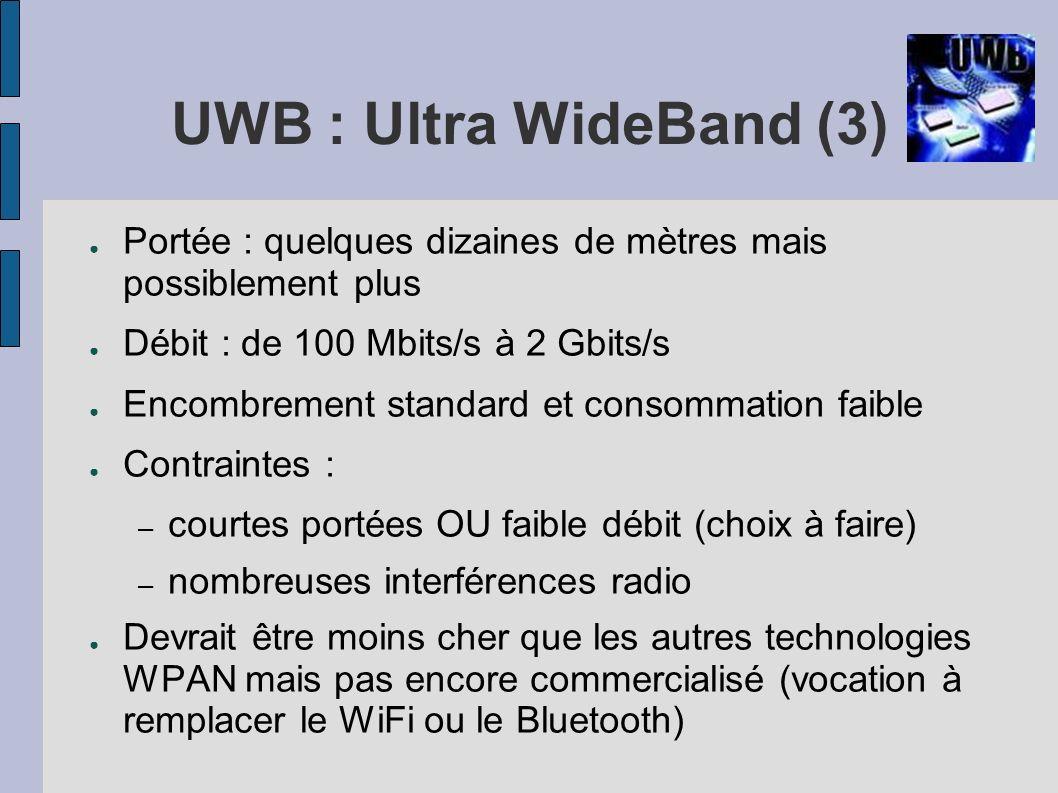 UWB : Ultra WideBand (3) Portée : quelques dizaines de mètres mais possiblement plus Débit : de 100 Mbits/s à 2 Gbits/s Encombrement standard et conso