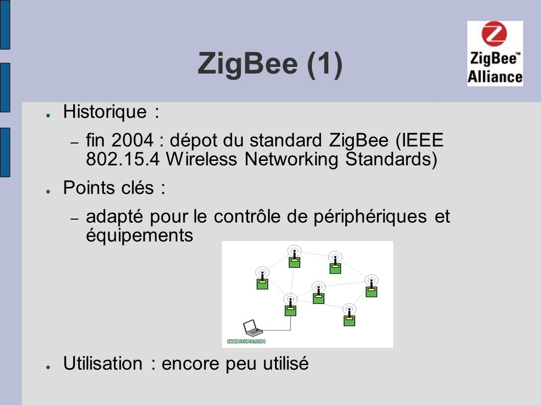 ZigBee (1) Historique : – fin 2004 : dépot du standard ZigBee (IEEE 802.15.4 Wireless Networking Standards) Points clés : – adapté pour le contrôle de