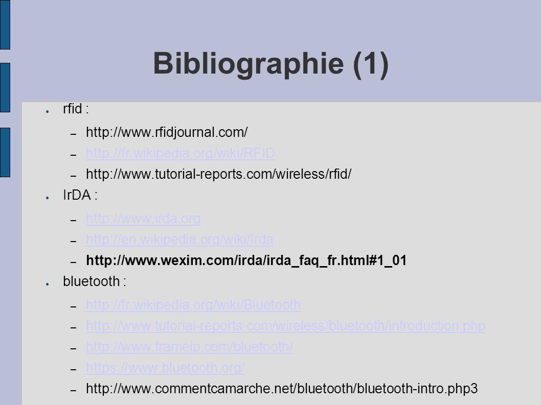 Bibliographie (1) rfid : – http://www.rfidjournal.com/ – http://fr.wikipedia.org/wiki/RFID http://fr.wikipedia.org/wiki/RFID – http://www.tutorial-rep