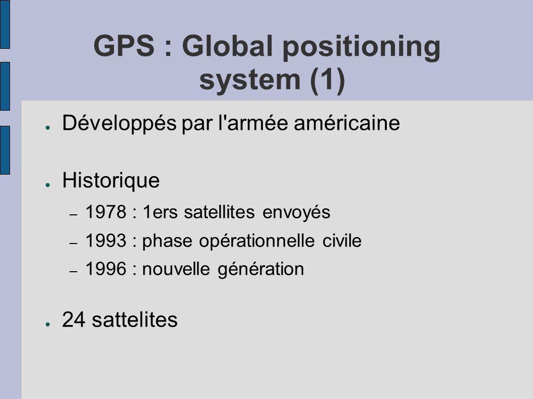 GPS : Global positioning system (1) Développés par l'armée américaine Historique – 1978 : 1ers satellites envoyés – 1993 : phase opérationnelle civile