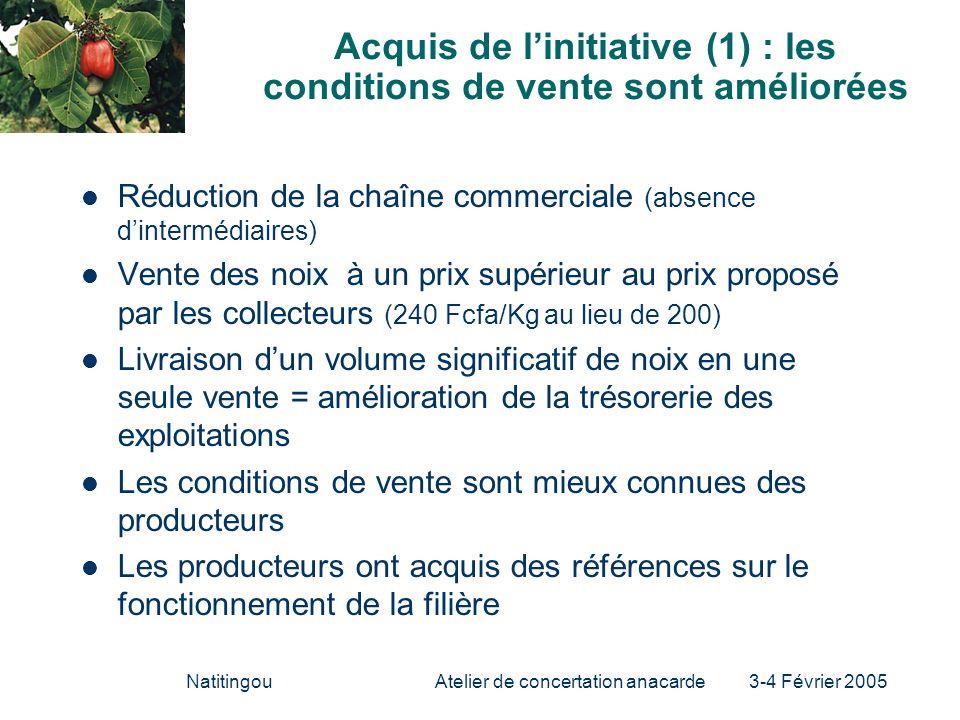 NatitingouAtelier de concertation anacarde 3-4 Février 2005 Acquis de linitiative (1) : les conditions de vente sont améliorées Réduction de la chaîne