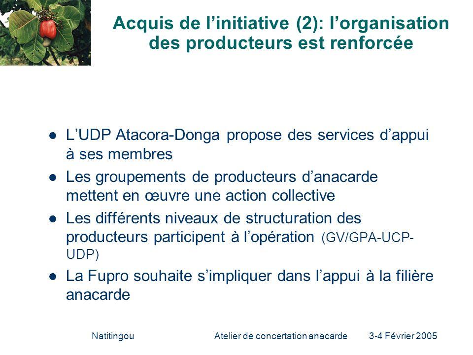 NatitingouAtelier de concertation anacarde 3-4 Février 2005 Acquis de linitiative (2): lorganisation des producteurs est renforcée LUDP Atacora-Donga