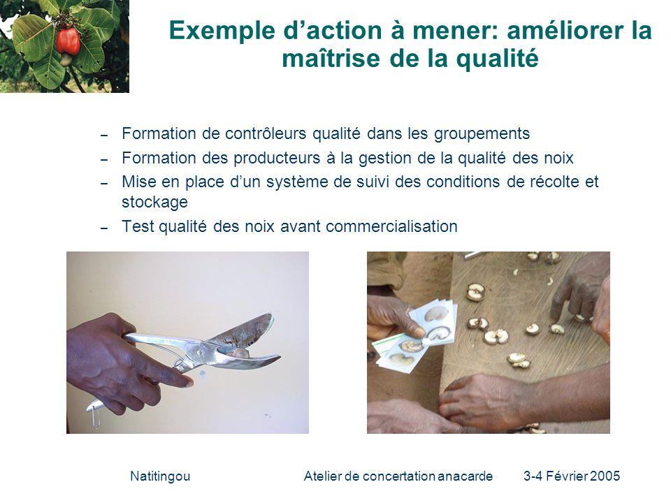 NatitingouAtelier de concertation anacarde 3-4 Février 2005 Exemple daction à mener: améliorer la maîtrise de la qualité – Formation de contrôleurs qu