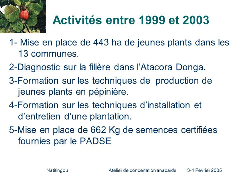NatitingouAtelier de concertation anacarde 3-4 Février 2005 Activités entre 1999 et 2003 1- Mise en place de 443 ha de jeunes plants dans les 13 commu