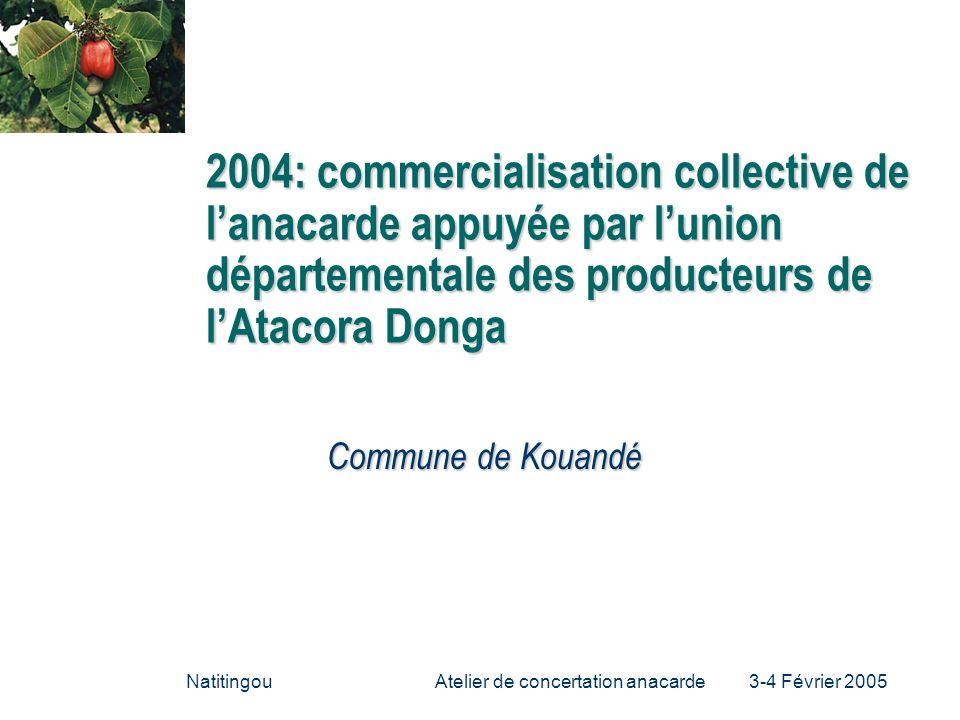 NatitingouAtelier de concertation anacarde 3-4 Février 2005 2004: commercialisation collective de lanacarde appuyée par lunion départementale des prod