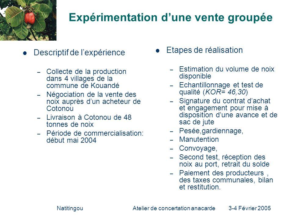 NatitingouAtelier de concertation anacarde 3-4 Février 2005 Expérimentation dune vente groupée Descriptif de lexpérience – Collecte de la production d