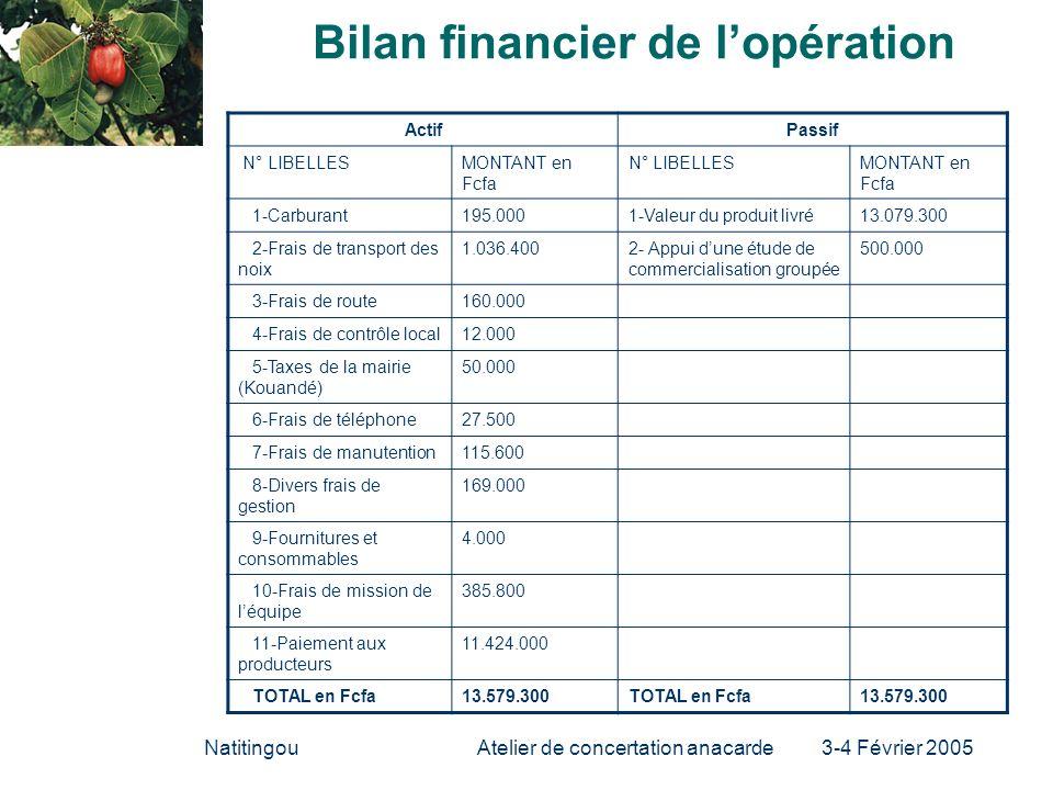 NatitingouAtelier de concertation anacarde 3-4 Février 2005 Bilan financier de lopération ActifPassif N° LIBELLESMONTANT en Fcfa N° LIBELLESMONTANT en