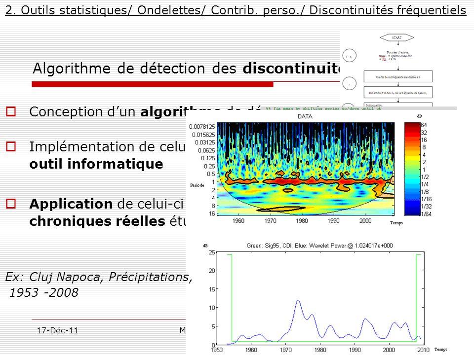 27/57 17-Déc-11MarcelMateescu@yahoo.com Algorithme de détection des discontinuités fréquentiels 2. Outils statistiques/ Ondelettes/ Contrib. perso./ D