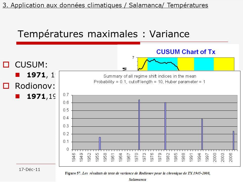 34/57 17-Déc-11MarcelMateescu@yahoo.com Températures maximales : Variance CUSUM: 1971, 1951, 1982, 1995 Rodionov: 1971,1981, 1995,1956 3. Application