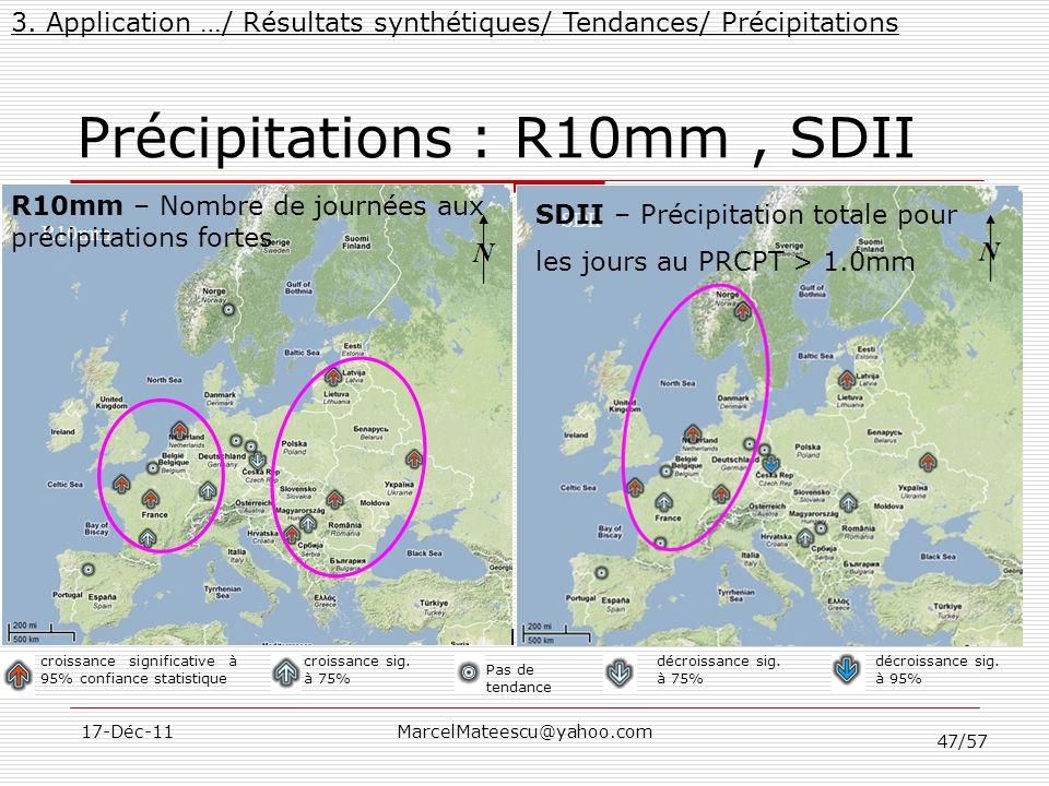 47/57 17-Déc-11MarcelMateescu@yahoo.com Précipitations : R10mm, SDII 3. Application …/ Résultats synthétiques/ Tendances/ Précipitations croissance si
