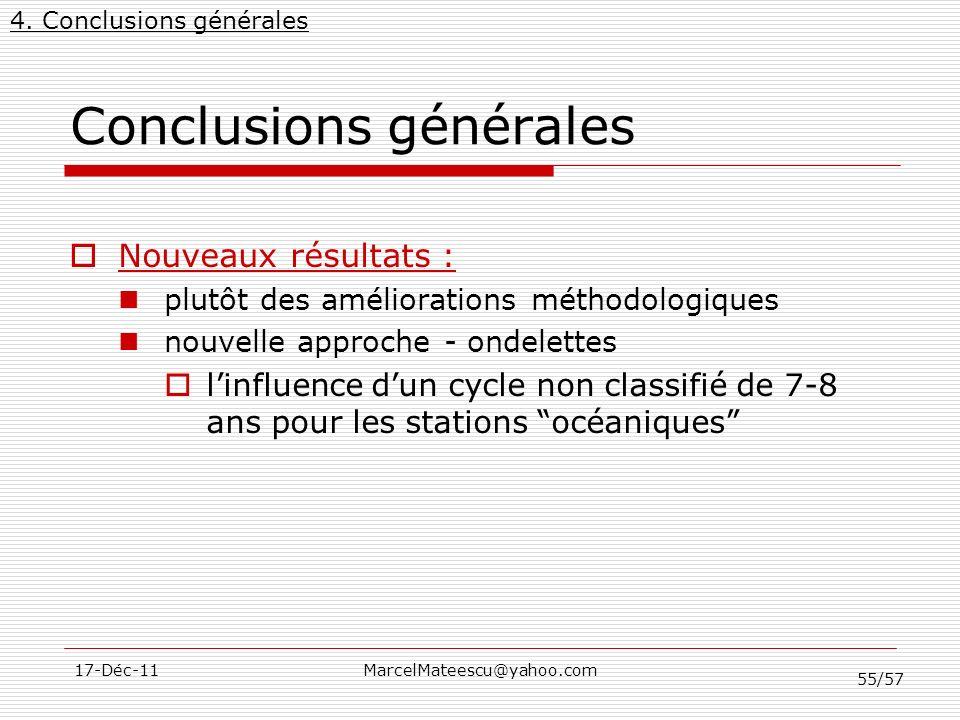 55/57 17-Déc-11MarcelMateescu@yahoo.com Conclusions générales Nouveaux résultats : plutôt des améliorations méthodologiques nouvelle approche - ondele