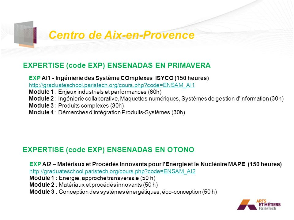 Centro de Aix-en-Provence EXPERTISE (code EXP) ENSENADAS EN PRIMAVERA EXPERTISE (code EXP) ENSENADAS EN OTONO EXP AI1 - Ingénierie des Système COmplex
