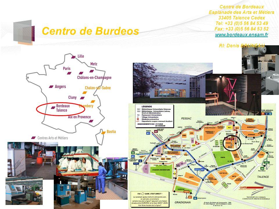 Centro de Burdeos Centre de Bordeaux Esplanade des Arts et Métiers 33405 Talence Cedex Tel: +33 (0)5 56 84 53 49 Fax: +33 (0)5 56 84 53 52 www.bordeau