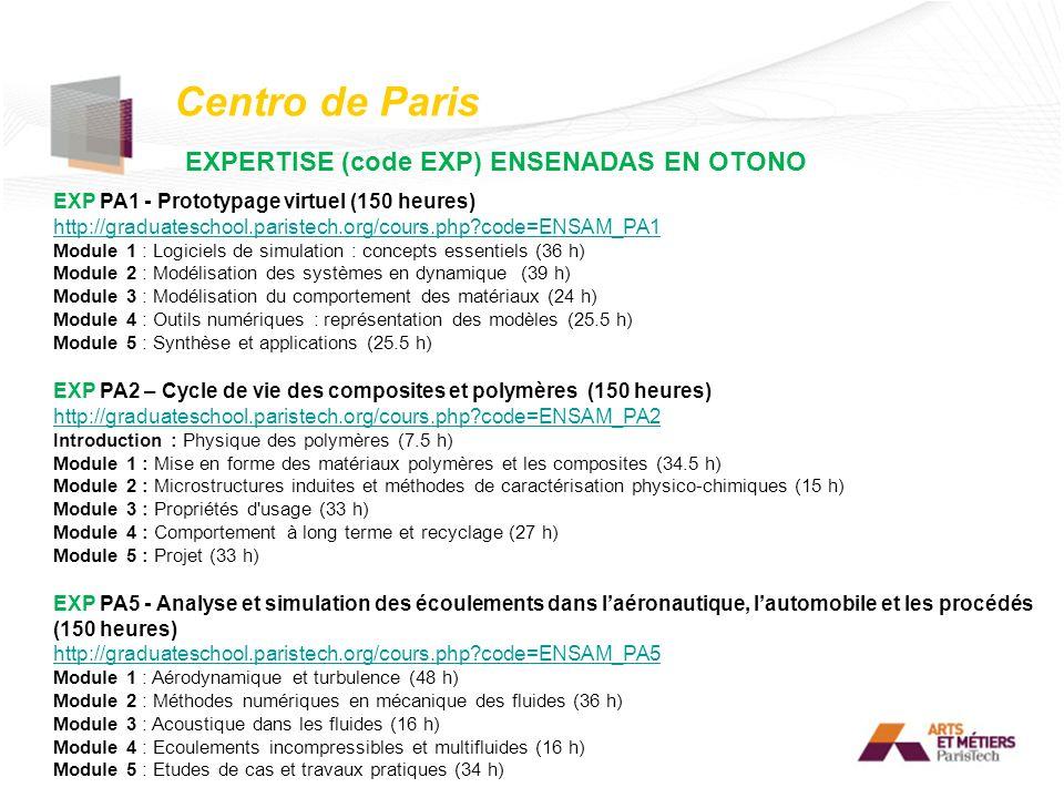 Centro de Paris EXPERTISE (code EXP) ENSENADAS EN OTONO EXP PA1 - Prototypage virtuel (150 heures) http://graduateschool.paristech.org/cours.php?code=