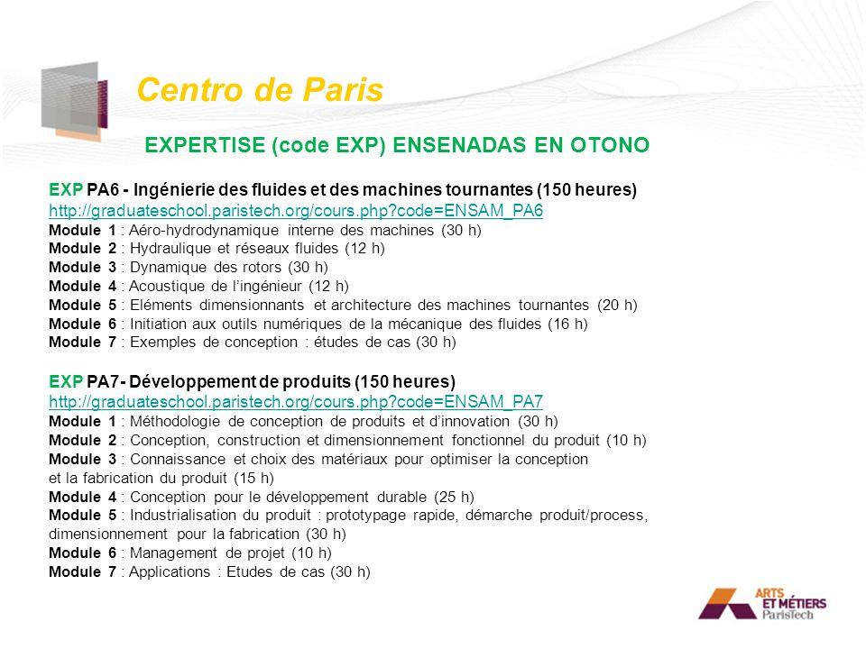 Centro de Paris EXPERTISE (code EXP) ENSENADAS EN OTONO EXP PA6 - Ingénierie des fluides et des machines tournantes (150 heures) http://graduateschool