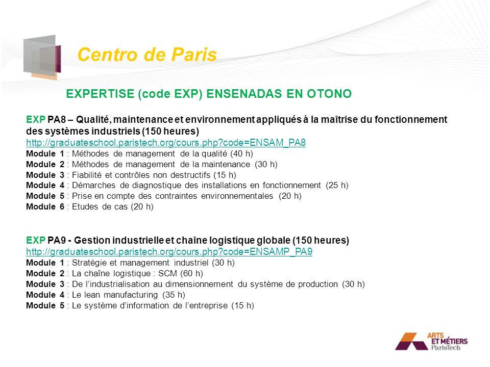 Centro de Paris EXPERTISE (code EXP) ENSENADAS EN OTONO EXP PA8 – Qualité, maintenance et environnement appliqués à la maîtrise du fonctionnement des