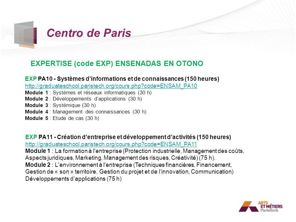 Centro de Paris EXPERTISE (code EXP) ENSENADAS EN OTONO EXP PA10 - Systèmes dinformations et de connaissances (150 heures) http://graduateschool.paris
