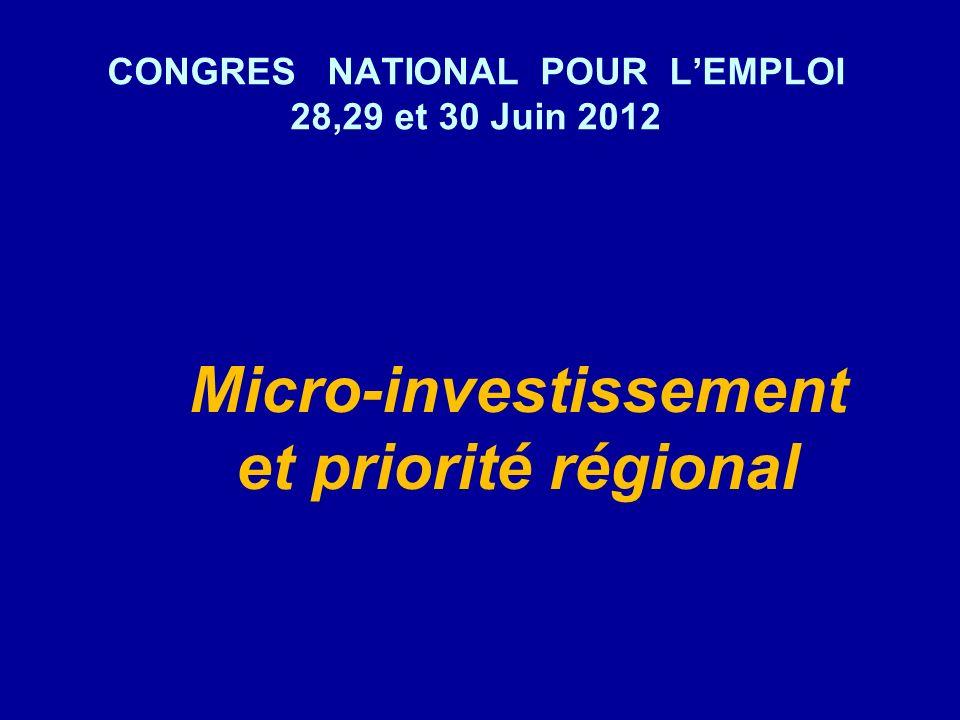 CONGRES NATIONAL POUR LEMPLOI 28,29 et 30 Juin 2012 Micro-investissement et priorité régional