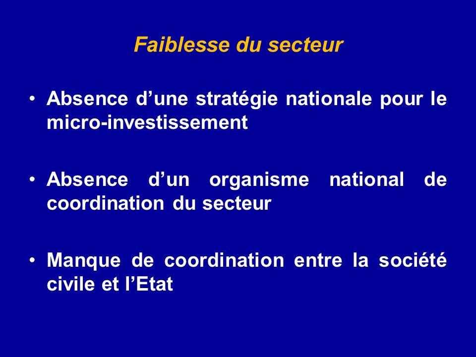 Faiblesse du secteur Absence dune stratégie nationale pour le micro-investissement Absence dun organisme national de coordination du secteur Manque de coordination entre la société civile et lEtat