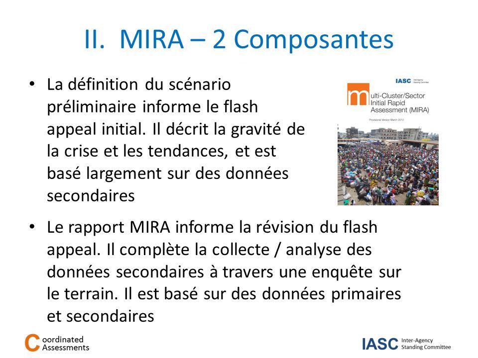 II. MIRA – 2 Composantes La définition du scénario préliminaire informe le flash appeal initial. Il décrit la gravité de la crise et les tendances, et